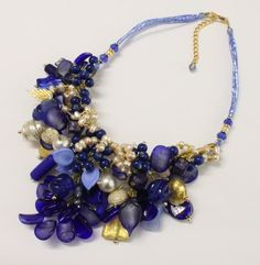 "Murano glass necklace-sculpture ""Blue Nature"" in ancient technical hand-work with silk, glass pearls, corals, crystals. Look on the web site all the other collections...only in  www.mirabiliashop.com   The gallery of the italian excellent"