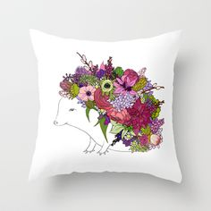 Lovely Pink Hedgehog Throw Pillow
