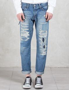 Denim by Vanquish & Fragment Five Years Wash Wide Straight Denim Pants