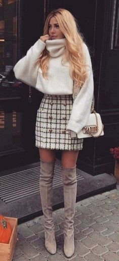 Beste Fall-Outfit-Idee mit einem Tweed-Rock - Dress up - Mode Rock Outfits, Cute Fall Outfits, Fall Winter Outfits, Outfits For Teens, Autumn Winter Fashion, Casual Outfits, Dress Winter, Skirt Outfits For Winter, Winter Outfits Women 20s