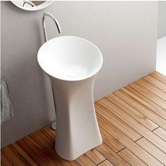 Corian Bathroom Pedestal Wash Basin Freestanding Solid Surface Matt Hand Sink Cloakroom Vanity Wash Sink RS3864