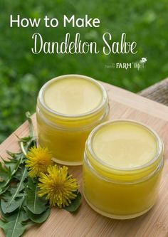 DIY Dandelion Salve Recipe - Learn how to use those dandelions growing in your backyard to make a salve that's useful for sore muscles, achy & arthritic joints and rough, chapped skin. Dandelion salve is especially ideal for those who work outdoors and with their hands a lot!