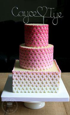 Ombre Hearts Wedding Cake - by IcedByKez @ CakesDecor.com - cake decorating website