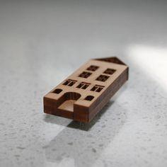 laser cut wooden house brooch