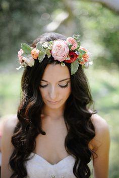 bridal flower crown - photo by Leo Cabal and Tanner Wendell Stewart http://ruffledblog.com/bohemian-wedding-at-temecula-creek-inn