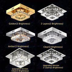 NEW Modern LED Flush Ceiling Lights Pendant Fixture Lighting Crystal Chandeliers