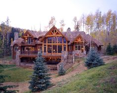Timber & Stone Home, Rear View