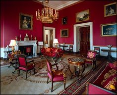 The White House - Red twill satin with a gold scroll design covers the walls of the Red Room. The furniture is upholstered in a silk of the same shade of red.