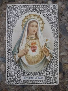 Mother Mary A  Vintage  Prayer Card 1900 by TimelessCuriosities, $18.00