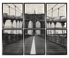 Brooklyn Bridge 6 Piece Set Upcycled Dictionary Art Print Repurposed Book Print Recycled Antique Dictionary Page - Buy 2