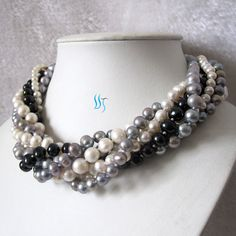Pearl Necklace - 18 inches 7 Row 4-10mm Multi Color Pearl Necklace - Free shipping on Etsy, $49.00