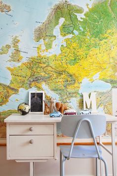 mommo design: KIDS DESKS  Oh my goodness! I would die to have a map on my wall and desk!