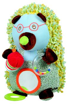 Cute activity hedgehog wearing glasses with lots of activities for babies.