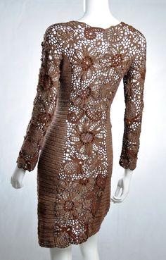 Knielange Kleider - Kleid GEHÄKELT *BAUMWOLLE* echte Handarbeit - ein Designerstück von wosor72 bei DaWanda