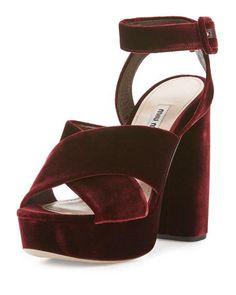 Miu Miu Velvet Crisscross 125mm Sandal, Bordeaux NMS16_X383K