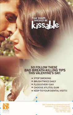 Visit your dentist to banish bad breath this Valentine's Day and beyond. Visit http://www.thirty-twodental.com/dental-care/ for more tips on how to keep your breath kissably fresh. #Dentist #DentalHygiene