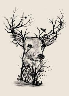 Bow Hunting Tattoos, Deer Skull Tattoos, Head Tattoos, Body Art Tattoos, Deer Skull Drawing, Bow Tattoos, Deer Drawing Easy, Cross Tattoos, Tatoos