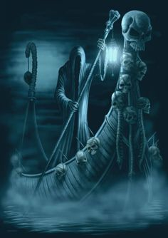 In Greek mythology, Charon is the ferryman of Hades who carries souls of the newly deceased across the rivers Styx and Acheron that divided the world of the living from the world of the dead. Dark Fantasy Art, Fantasy Kunst, Fantasy Artwork, Dark Art, Gothic Artwork, Grim Reaper Art, Grim Reaper Tattoo, Don't Fear The Reaper, Weeping Angels