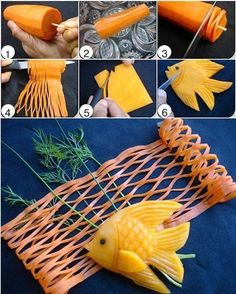 Food Art--the 'net' AND the fish! Art Et Design, Food Design, Edible Food, Edible Art, Deco Fruit, Creative Food Art, Food Sculpture, Fruit And Vegetable Carving, Food Carving
