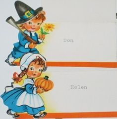 Vintage Thanksgiving Place Cards