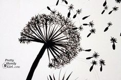 Tutorial for painting a dandelion wall graphic