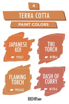 This summer, we're bringing the heat with this terra cotta paint color palette from Behr paint. Bright shades of orange and red come together to cre… – Mudroom Indoor Paint Colors, Orange Paint Colors, Orange Color Palettes, Paint Color Palettes, Paint Colors For Home, Room Colors, Wall Colors, House Colors, Terra Cotta Paint Color