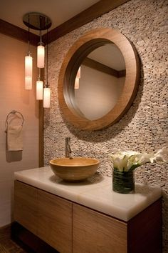 Contemporary Powder Room with Vessel sink, European Cabinets, Calacatta gold honed marble, Pendant light, Hardwood floors