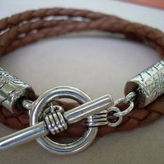 Saddle Braided Triple Wrap Mens Leather Bracelet - Urban Survival Gear USA