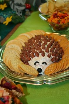 Woodland Baby Shower Theme Ideas (Decorations, Games, & More) hedgehog cheese ball for a baby sh Botanas Para Baby Shower, Comida Para Baby Shower, Baby Shower Themes, Baby Boy Shower, Shower Ideas, Woodlands Baby Shower Theme, Baby Showers, Baby Shower Fruit, Baby Shower Snacks