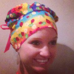 ladybug rainbow scrub hat bouffant ponytail bouffant ribbon bouffant