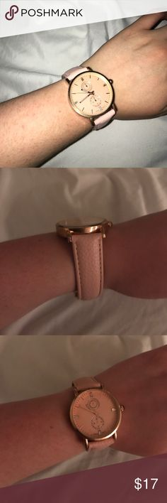 Pink Faux Leather Rose Gold Watch Rose gold watch. Worn maybe 3 times. Working condition. Has one black smudge on band. Can't see it when you're wearing it. Adjustable hole sizes. No box, but I'll package it safe and sound. Super cute accessory! Price negotiable! Make me an offer 😊 none Accessories Watches