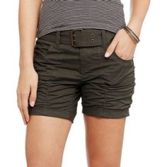Indie Girl Juniors' Rouched Belted Shorts, Size: 17, Green