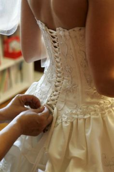 wedding gown with corset bodice