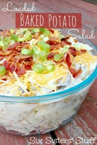Six Sisters Loaded Baked Potato Salad is the perfect dish for a potluck dinner! Hummm - maybe Phyliss Perfect Potato salad could be improved! I Love Food, Good Food, Yummy Food, Loaded Baked Potato Salad, Side Recipes, Family Recipes, Fast Recipes, Food For Thought, Food Dishes
