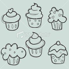 hand drawn cupcake set Royalty Free Stock Vector Art Illustration