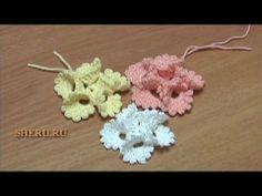 Вязание Цветов  Урок 13 Как связать Цветочек лепестки которого выполнены из столбиков с пико
