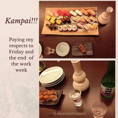 Saying sayonara to Friday with sake and sushi. Kanpai!