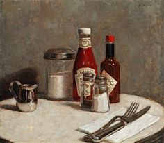 Travis Schlaht, Table For One, Oil on Linen, 14 x 16 inches, 2011