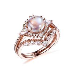 Round Moonstone Engagement Ring Bridal Sets Tiara Curve Diamond Wedding Band 14k Rose Gold 6.5mm - 7 / 14K Rose Gold