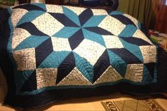 Looking for quilting project inspiration? Check out Star In Shades Of Blue by member Newvie. Quilting Big Projects on a Small Machine on Craftsy