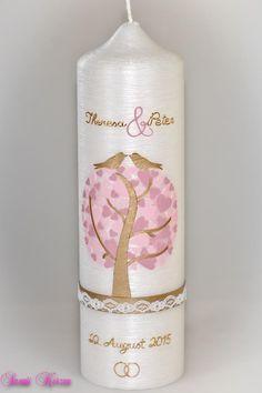 Hochzeitskerzen & Beleuchtung - Hochzeitskerze Herzbaum Perlmutt - ein Designerstück von Sannis-Wunschkerzen bei DaWanda