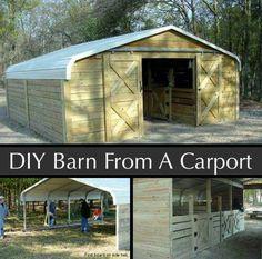 Barn turns into carport
