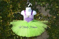 Perfect tutu dress for a little mermaid fan.  This tutu dress has a purple crochet top. There is a second smaller light purple crochet top
