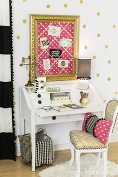 Whether you're moving across the city or across the country, make your dorm room glamorous with clean patterns, bright colors, and gold accents!