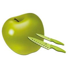 Szklana deska do krojenia w kształcie jabłka...piękna ... plus 2 noże.