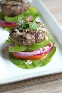 These mint lamb burgers are great as sliders, or served over a Greek salad. The lamb is juicy & flavorful - a great summertime dish! Lamb Recipes, Wrap Recipes, Paleo Recipes, Whole Food Recipes, Cooking Recipes, Burger Recipes, Paleo Menu, Paleo Cookbook, Paleo Food
