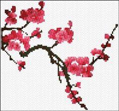 Cross Stitch Charts Sakura Blossom cross stitch chart by Ann Logan - Free cross-stitch design 'Sakura Blossom', 99 x 92 stitches 11 colors Cross Stitch Art, Cross Stitch Flowers, Modern Cross Stitch, Cross Stitch Designs, Cross Stitching, Cross Stitch Embroidery, Embroidery Patterns, Cross Stitch Patterns, Hand Embroidery