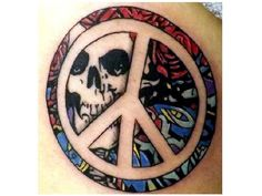 Peace Sign Tattoo with Grateful Dead Skull Background