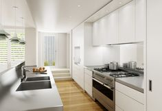 Beautiful and practical, this design has some impressive features such as motorised drawers and LED mood lighting.