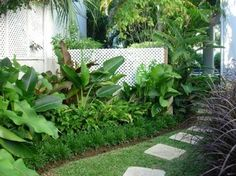 The pavers laid in grass with tropical plants contained neatly behind an edging.